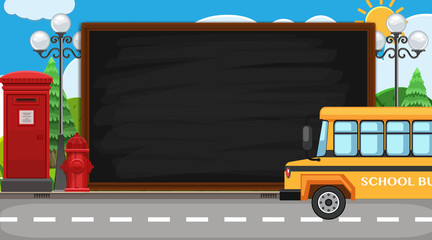 Border template with school bus on the road background