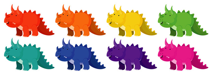 Set of triceratops in eight different colors