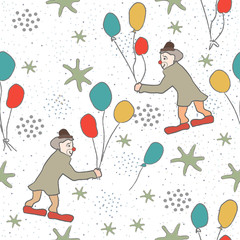 Seamless Pattern with Cute Clowns, air balloons on cute background.