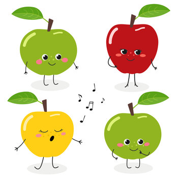 Apple cartoon character emoticon set vector illustration