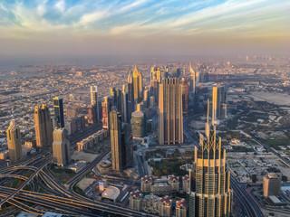 Wall Mural - Aerial view of Dubai at sunset, United Arab Emirates