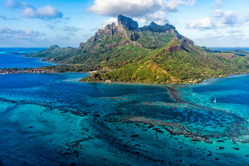 Bora Bora French Polynesia Paradise Island aerial view panorama