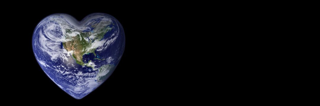 Earth in the shape of a heart, ecology and environment concept - Elements of this image are furnished by NASA