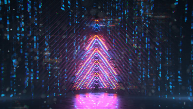 Neon christmas tree with digital glitch effect 3D rendering illustration