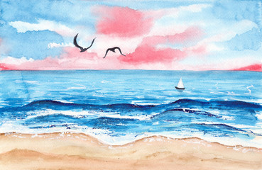 Watercolor picture of a small sailboat on the blue sea with foamy waves, pink sky and two seagulls