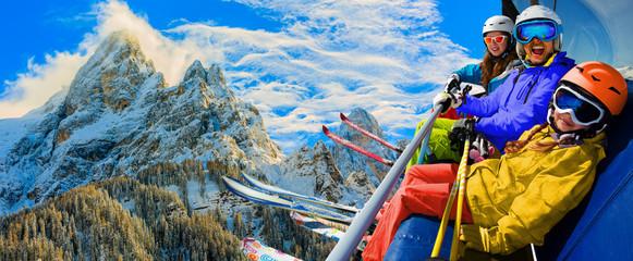 Skiing in  San Martino di Castrozza, Italian Dolomites.