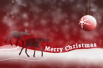 "2 Elche mit ""Merry Christmas"""