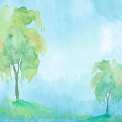 Watercolor tree of blue, green color. Autumn countryside landscape. Bush, tree, aspen, linden, oak, poplar, wild grass, forest plant. Handmade drawing. Stylish, trendy art background. Modern art