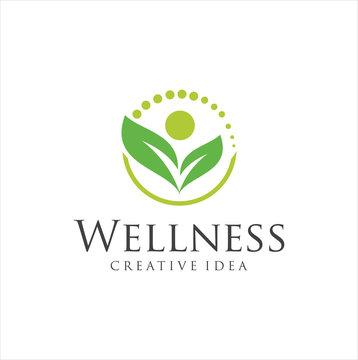 Wellness Yoga Logo Design . natural health wellness fitness and yoga logo design .Human health logo design . Leaf Wellness Logo