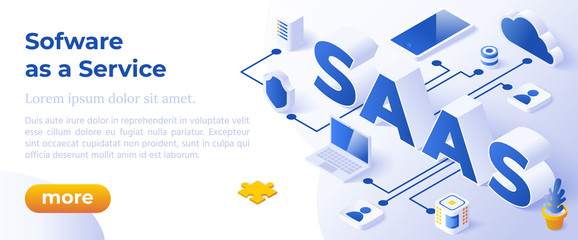 SAAS - Software as a Service or on-Demand - Isometric Concept in Trandy Colors. Cloud Computing Segment Metaphor. Website Banner Layout Template. Vector Illustration.