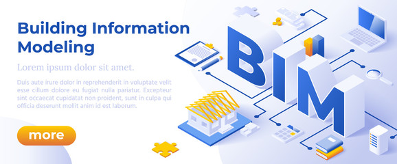 BIM - Building Information Modeling or Life-Cycle Facility Management. Isometric Concept in Trandy Colors. Construction Management Segment Metaphor. Website Banner Layout Template. Vector Illustration
