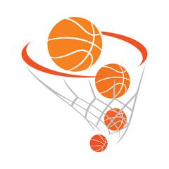 Orange and gray basketball basket with balls
