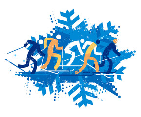 Cross Country Ski Racers, grunge stylized.  A expressive stylized drawing of cross country ski competitors. Isolated on white background. Vector available.