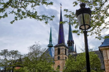 St Michael's Church towers and streetlamp, Luxembourg