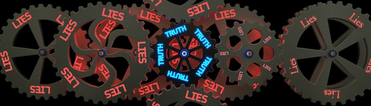 Metal wheels concept with glowing words text Lies and Truth