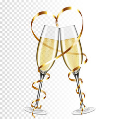 Two glasses of champagne with ribbon, isolated on transparent background.