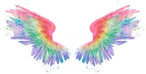 Rainbow watercolor spreaded wings, raster