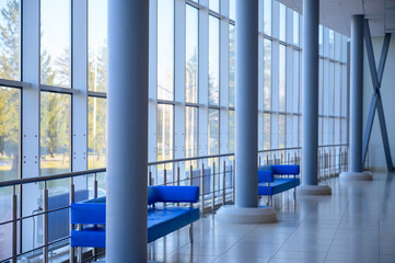 Interior concept of a modern urban building. Photo of the lobby of a public building.