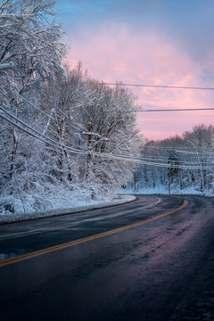 Snowy road in New England town