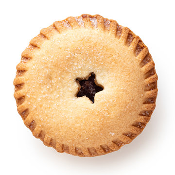 Traditional british christmas mince pie isolated on white. Top view.