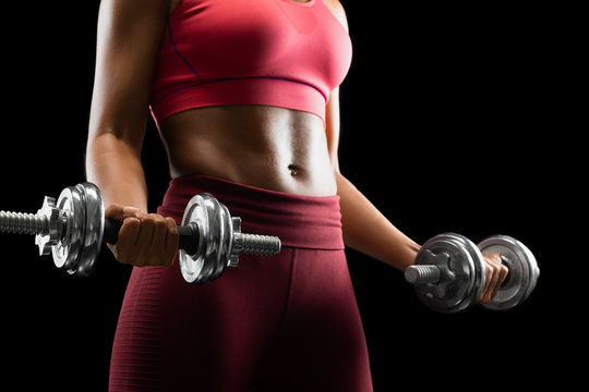 Workout with dumbbells, african girl holding barbells