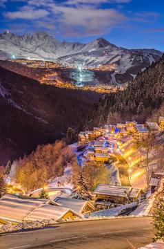 Small village on snowy mountain, Champagny en Vanoise