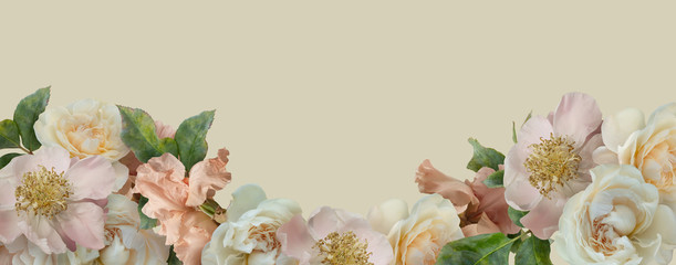 Foto op Aluminium Bloemen White roses, pink peony and iris isolated on pastel yellow background. Floral banner, cover, header with copy space. Natural flowers wallpaper or greeting card.