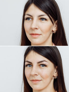 Photo comparison before and after permanent makeup, tattooing of eyebrows