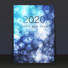 Ice Cold Blue Pattered Shimmering New Year Card, Flyer or Cover Design - 2020