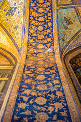 Isfahan, Iran - October 20, 2016: Decoration inside the Chehel Sotoun pavilion in Isfahan city