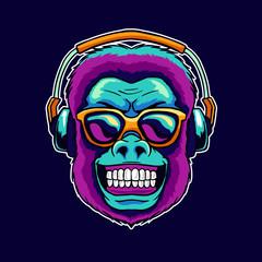 Monkey smile wear cool glasses while listening dope music on the headphone speaker vector illustration. Pop art color style animal gorilla head logo design for creative sound producer studio.
