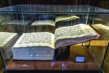 Isfahan, Iran - October 20, 2016: Quran dates back from 9th century inside the Chehel Sotoun pavilion in Isfahan city