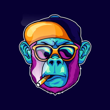 cool face monkey smoke cigarette wear a stylish glasses and cap hat vector illustration. Pop art color animal gorilla head creative character mascot logo design
