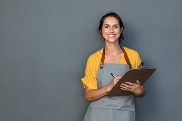 Waitress in apron take orders