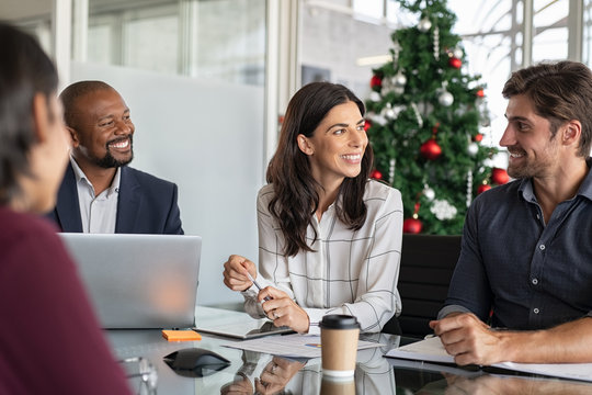Group of multiethnic business people in meeting during christmas time