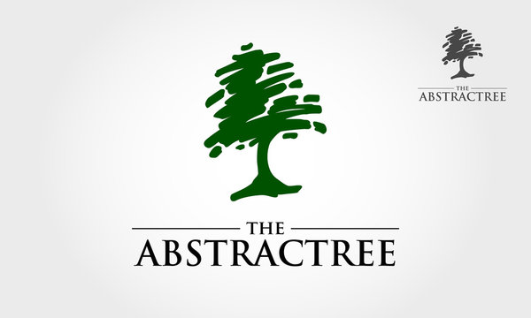 The Abstract Tree Logo Template. A simple scratch tree silhouette. Modern vector sign. Premium quality illustration logo design concept.