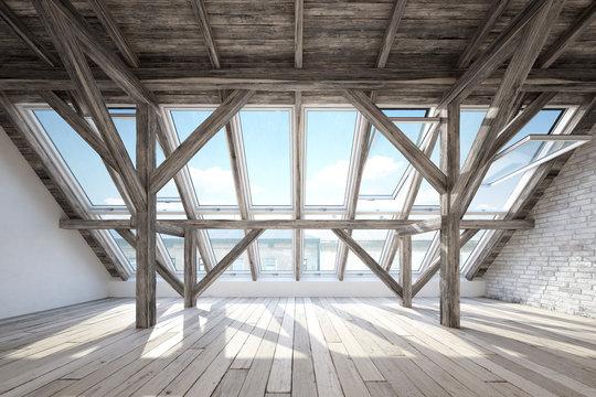 Scandinavian attic interior with wooden beam roof construction and wooden floor