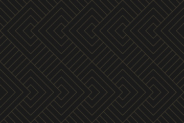 Seamless pattern. Dark and gold texture. Repeating geometric background. Striped grid. Linear graphic design