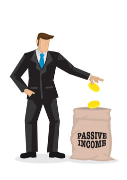 Businessman in suit dropping money into a bag label passive income. Concept of passive income and additional income.