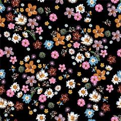 Kolorowy i stylowy wzór wolności kwitnących małych kwiatów i kwiatów w wektorze, Dessign dla mody, tkaniny, tapety, opakowania i wszystkich wydruków - 307160198