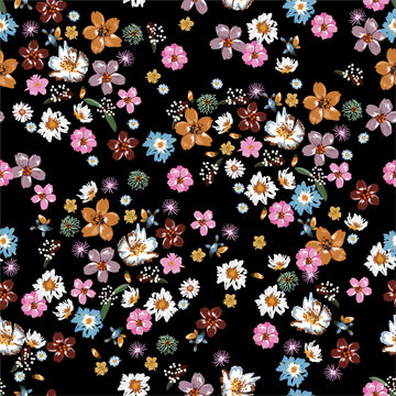 Colorful and stylish of liberty small booming floral and meadow flowers seamless pattern in vector,Dessign for fashion,fabric,wallpaper,wrapping and all prints
