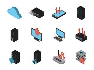 bundle of data server set icons