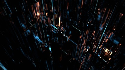 3D Rendering of abstract technology background. Concept for big data processing, multi core cpu engine, overclocking, artificial intelligence