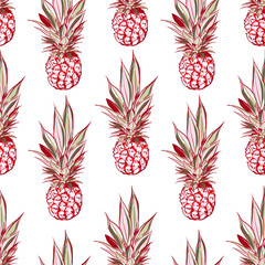Hand drawn pineapple seamless pattern in vector sweet mood of summer vibes ,Design for fashion, fabric,web,wallpaper and all prints