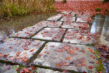 Nice rough pavement in autumn, over a pond.