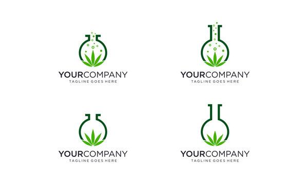 Cannabis lab science logo designs concept