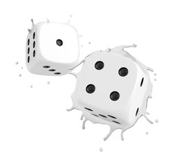3d rendering of two white casino dice splashing isolated on white background