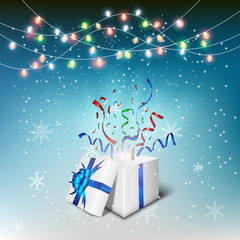 Gift boxes opening celebrated with snow flex and color ful light bulbs background background