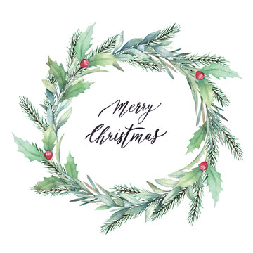 Christmas isolated wreath with fir, mistletoe, rosemary and holly branches on white background. Watercolor hand drawn illustration. Winter decor