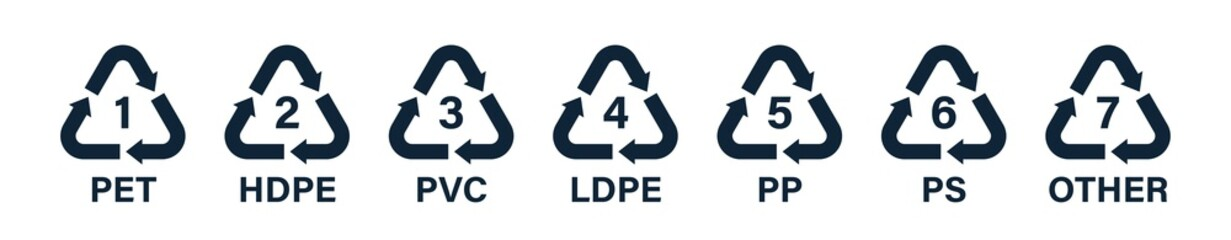 Flat recycle icons. Mobius loop. Recycling symbols